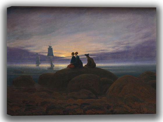 Friedrich, Caspar David: Moonrise Over the Sea. Fine Art Canvas. Sizes: A4/A3/A2/A1 (003897)
